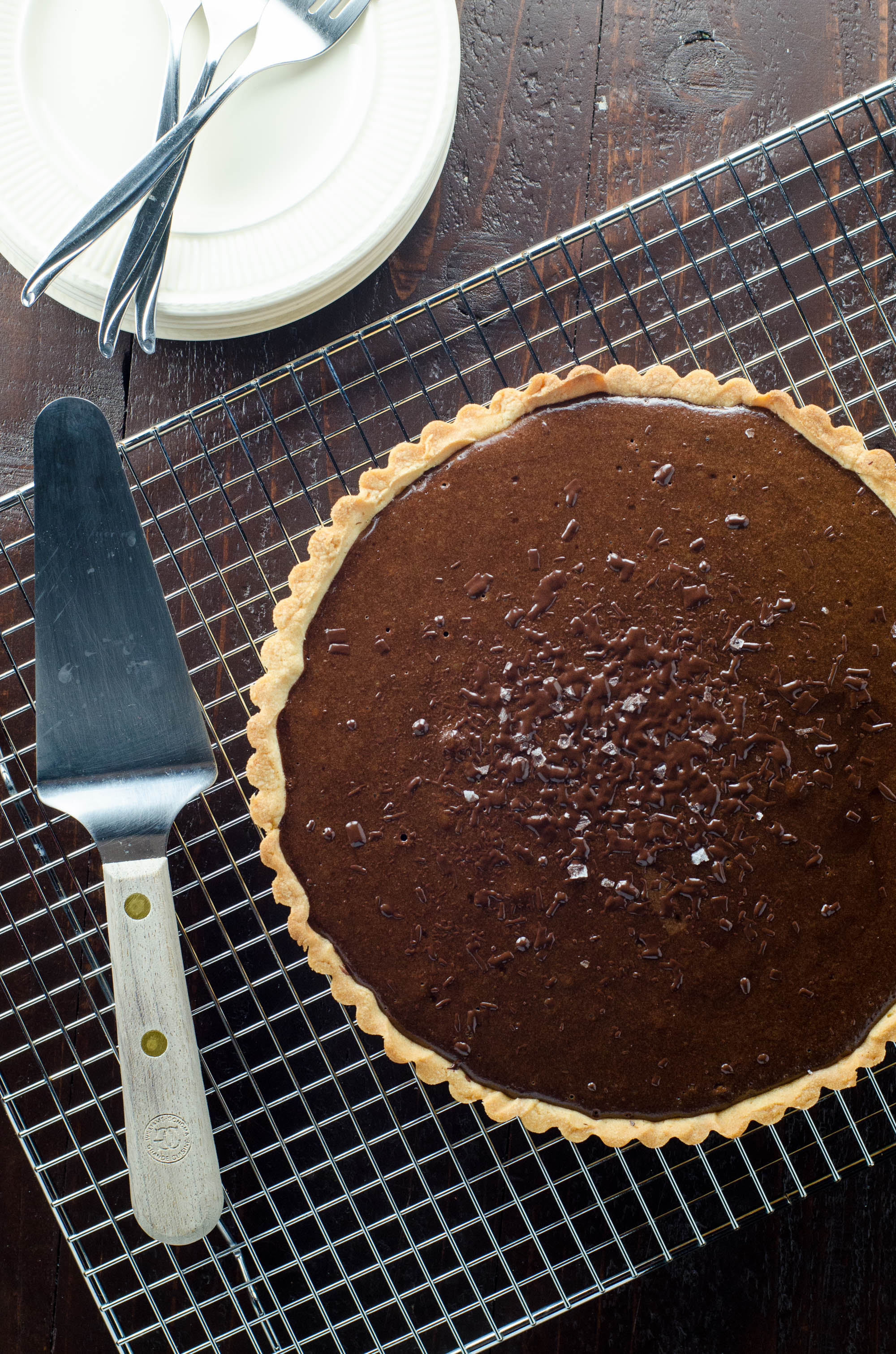 Bittersweet Chocolate Tart with Shortbread Crust | Umami Girl