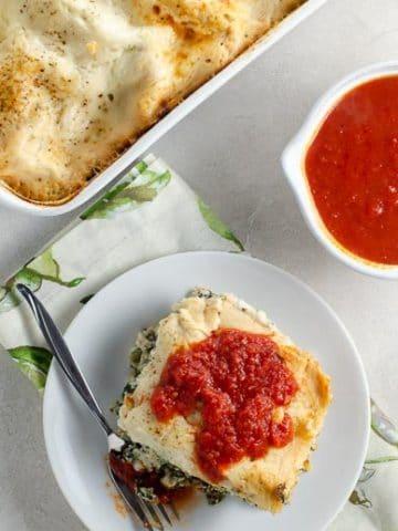 Spinach Lasagna with Portobellos and Bechamel Sauce 780 | Umami Girl