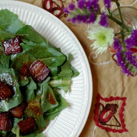 dandelion greens with bacon and pan vinaigrette