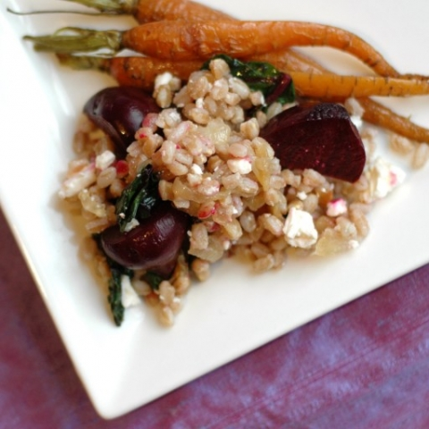 farro salad with baby beets, carrots and feta