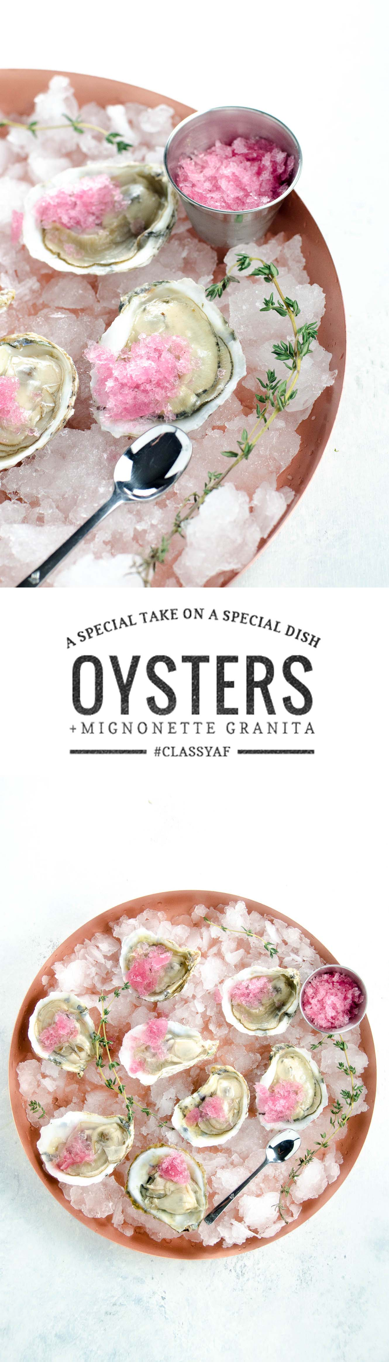 Oysters on the half shell with mignonette granita make an already special hors d'oeuvre even more special. Plus: learn to shuck an oyster in 30 seconds.