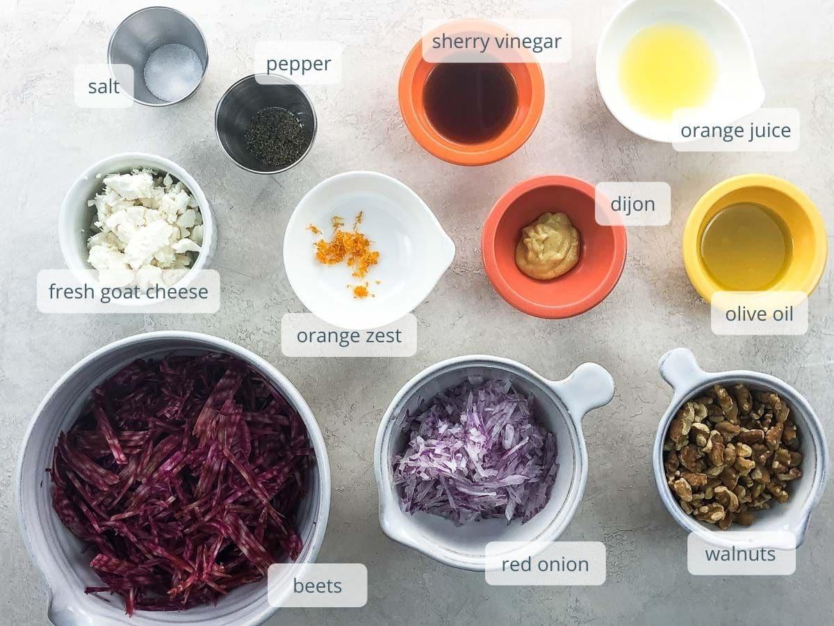 ingredients in bowls