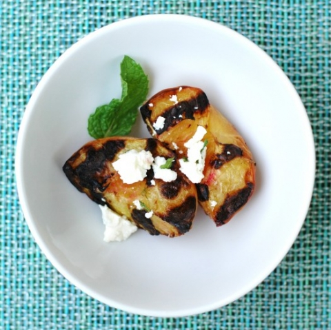 grilled peaches with feta and mint