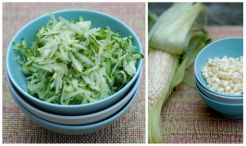 ingredients for zucchini & corn fritters