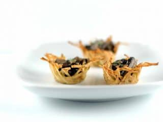 Elegant Appetizers: Potato Nests with Marsala Mushrooms