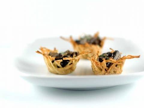 Elegant Appetizers: Potato Nests with Marsala Mushrooms