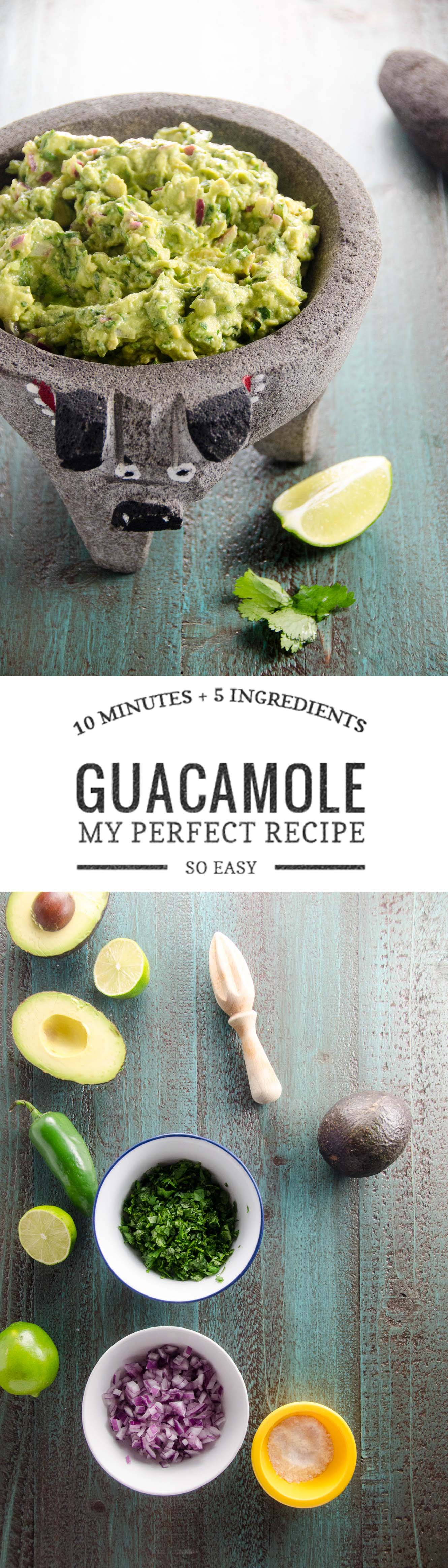 This easy recipe for perfect guacamole will disappear from your next party in no time. Just 10 minutes and 5 ingredients.