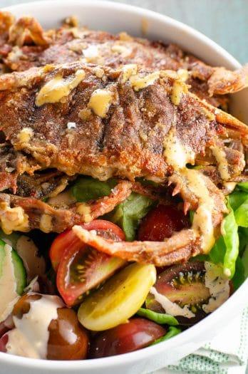 Soft Shell Crab Recipe Salad Spicy Sauce | Umami Girl