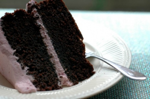 Favorite Chocolate Cake with Raspberry Whipped Cream Frosting | Umami Girl