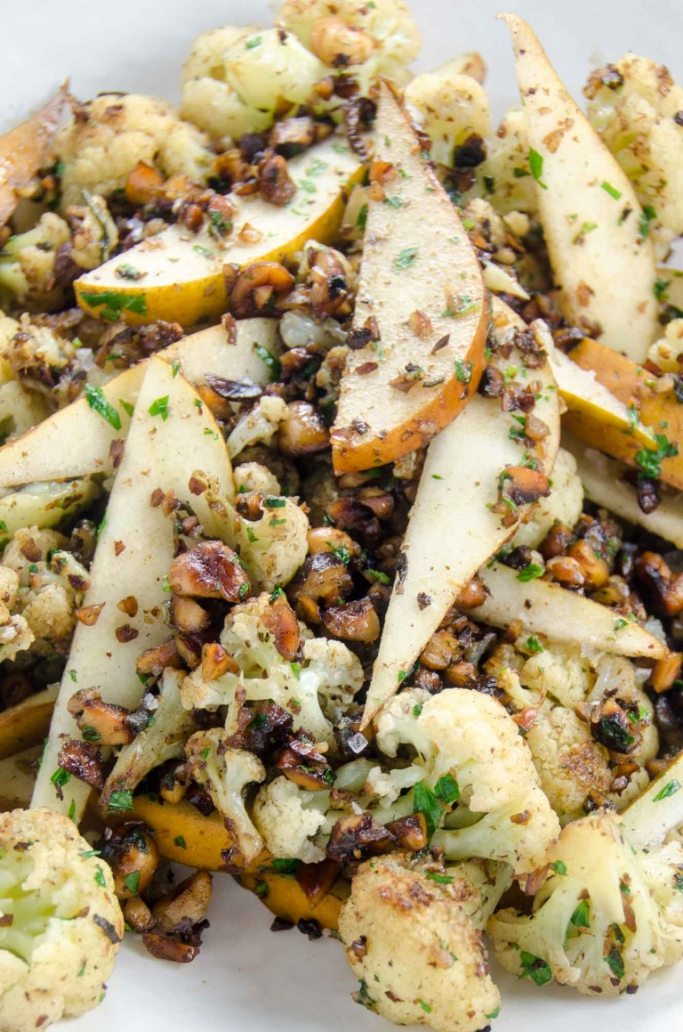 Andrew Carmellini's Cauliflower Recipe Brown Butter Hazelnuts Sage Pear | Umami Girl