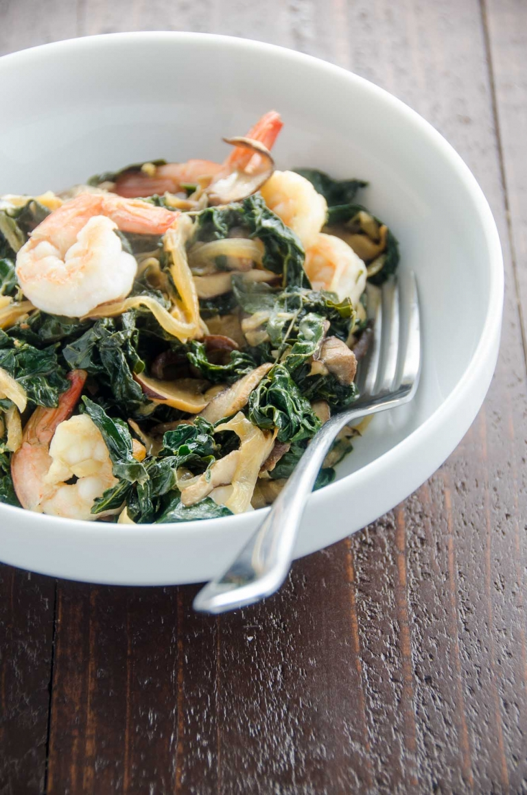 Shrimp Skillet with Kale and Shiitakes | Umami Girl