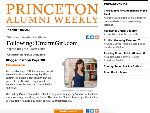 Princeton Alumni Weekly Feature | Umami Girl