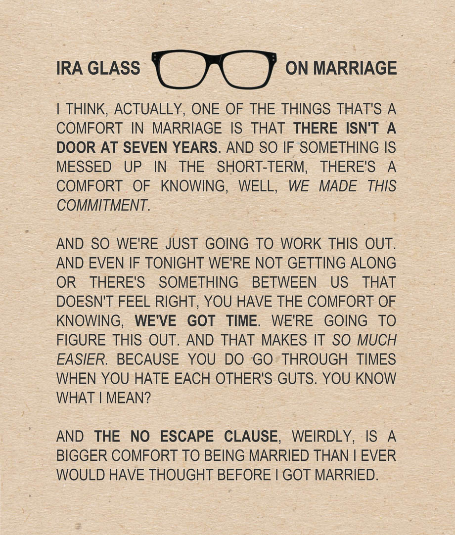 Just Married Quotes Ira Glass On Marriage  Umami Girl