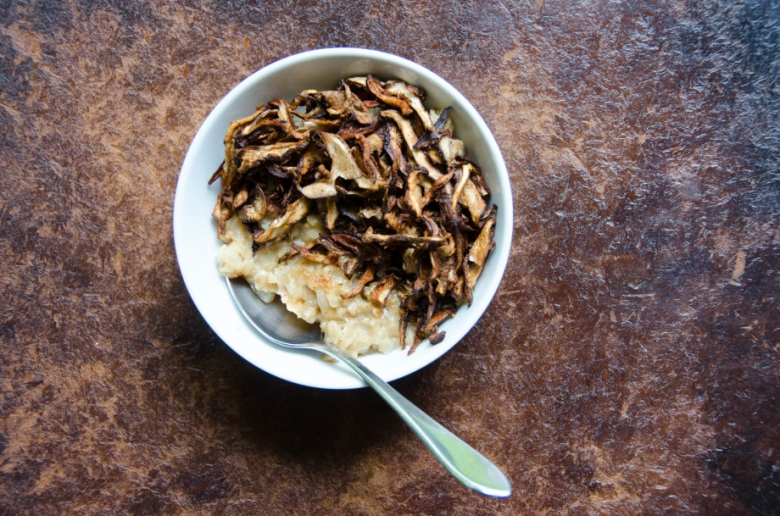 Savory Oatmeal with Crispy Shiitakes | Umami Girl