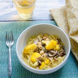 Spaghetti with Cauliflower Shiitakes and Chickpeas