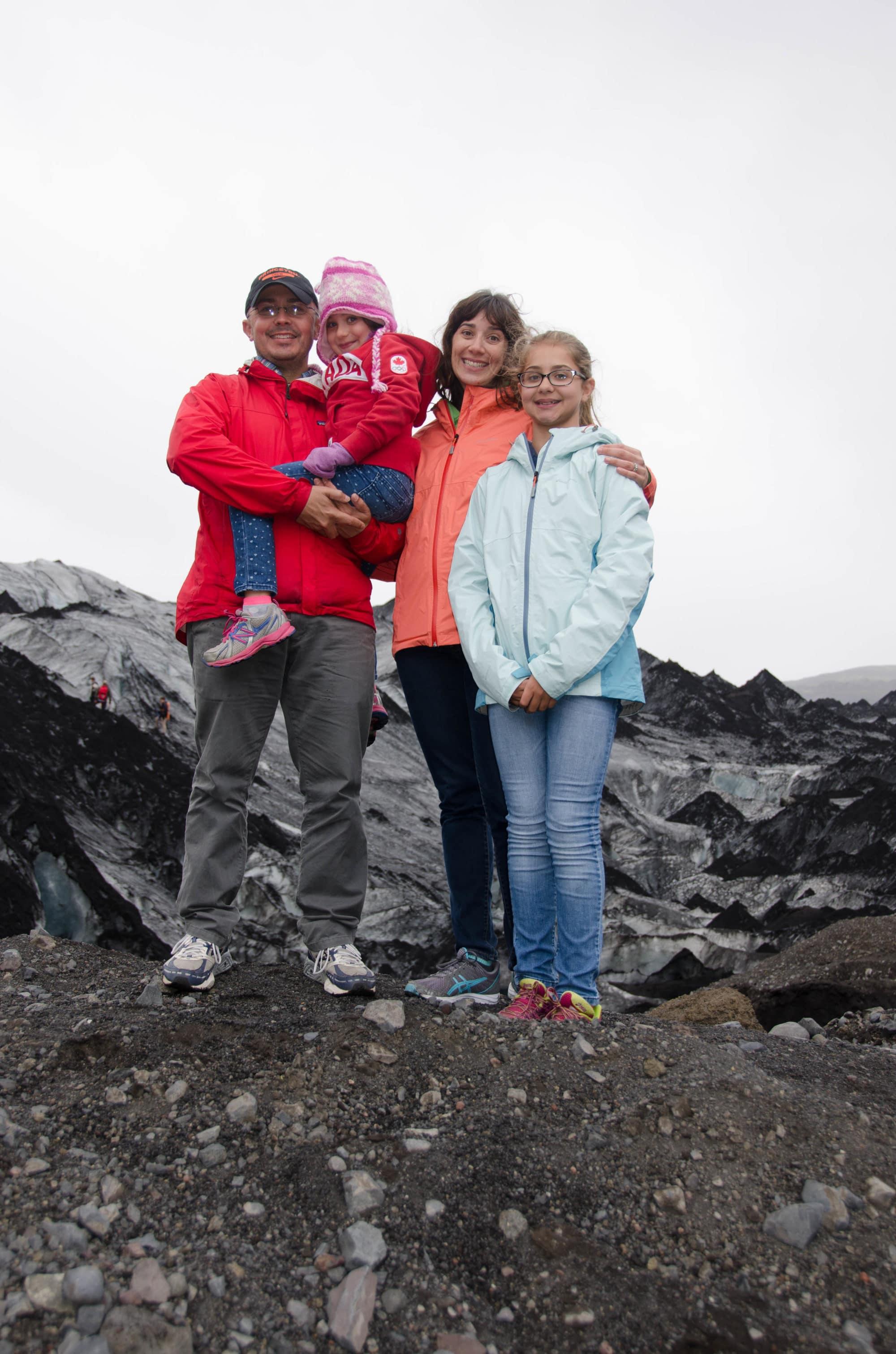 Family on Solheimajökull Glacier Vertical Iceland | Umami Girl