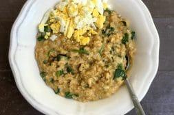Savory Oatmeal with Shallot Spinach and Boiled Egg | Umami Girl
