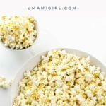 Popcorn with Nutritional Yeast in a white bowl