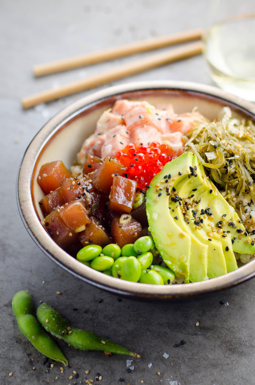 ahi tuna spicy salmon poke bowl umami girl