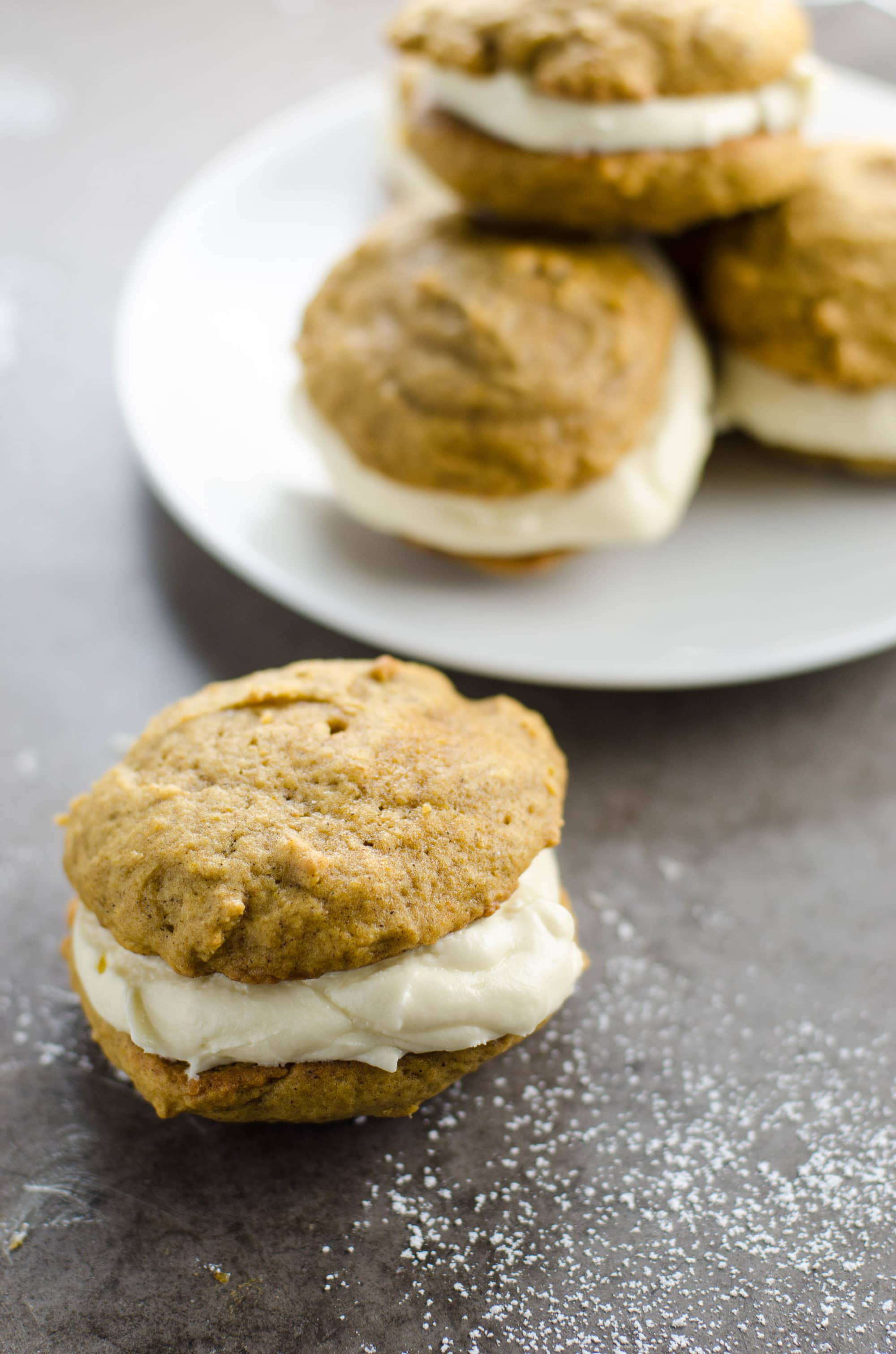 Pumpkin Whoopie Pies with Cream Cheese Filling | Umami Girl