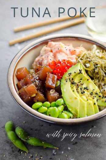 Ahi Tuna Poke Bowl Spicy Salmon _ Umami Girl PIN