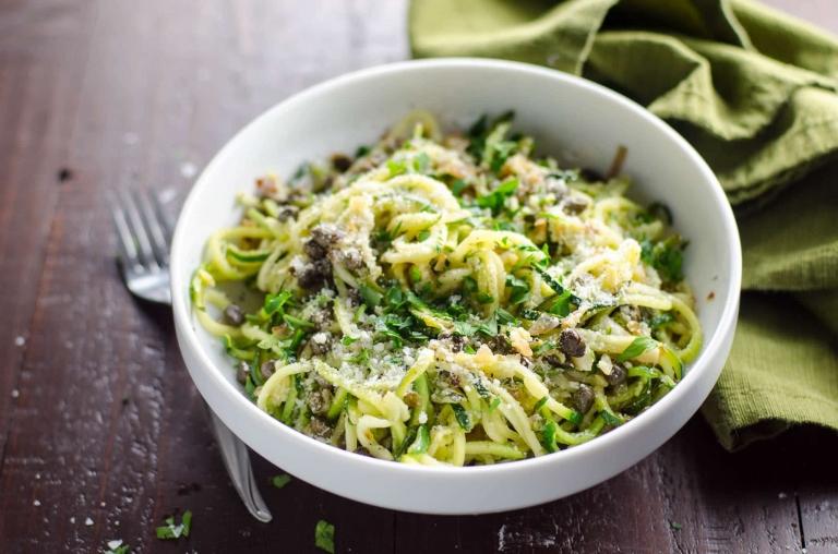 Zucchini Noodles (Zoodles) Piccata Lemon Caper Butter | Umami Girl