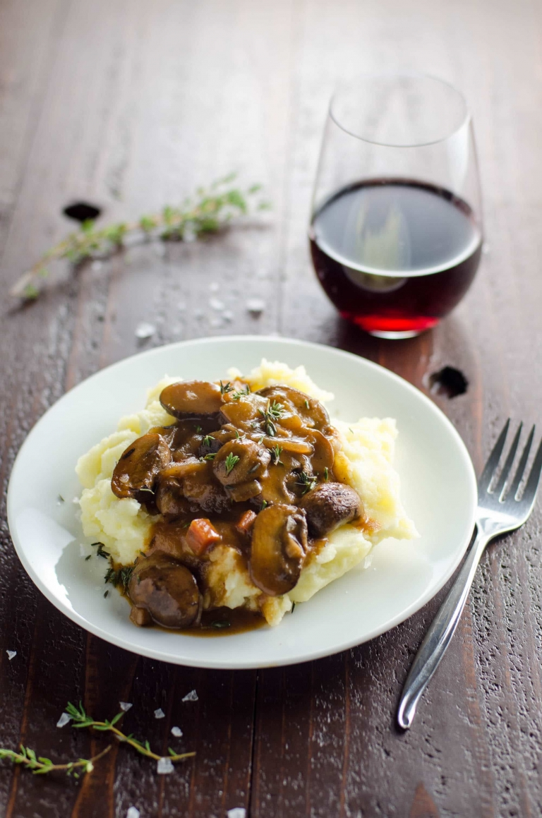 Mushroom Bourguignon with Yukon Gold Mashed Potatoes | Umami Girl