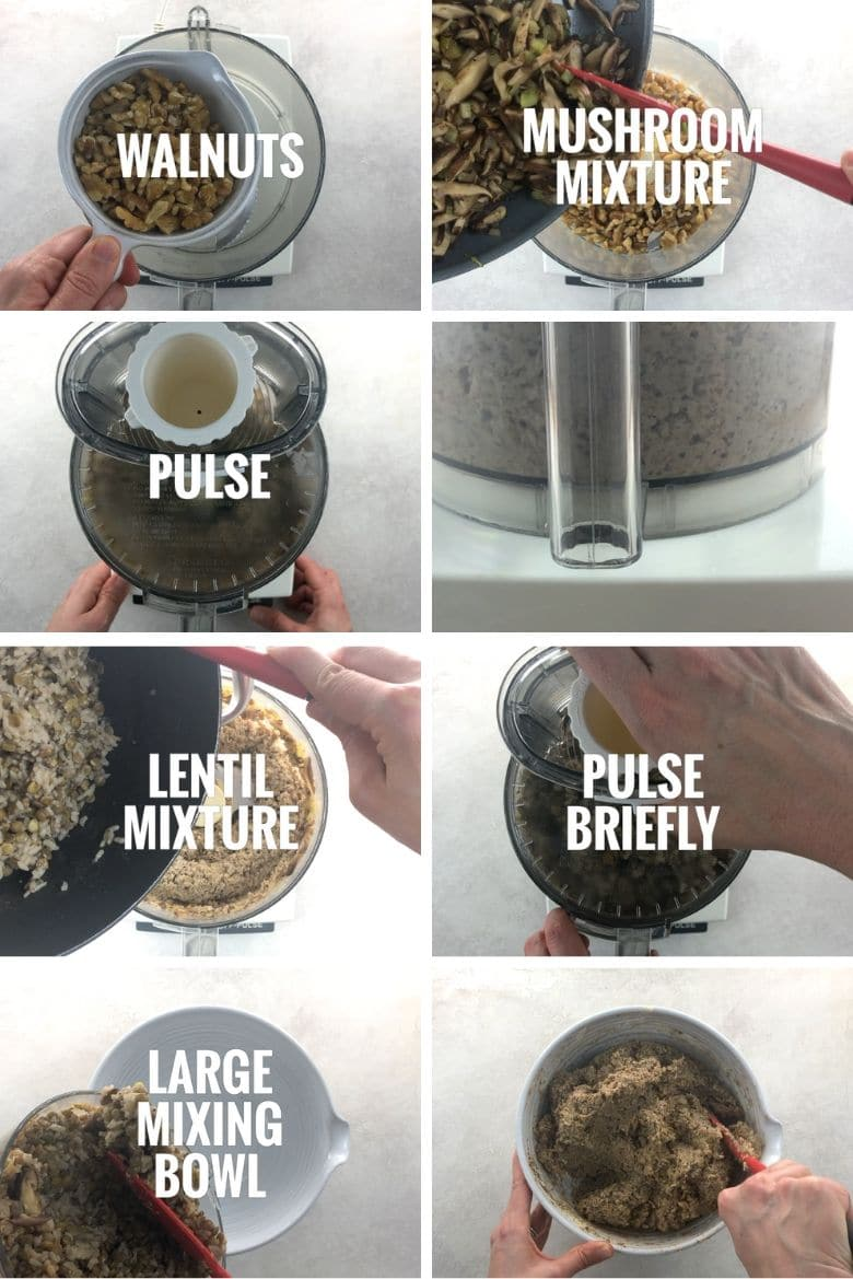 using a food processor to pulse walnuts, mushroom mixture, and lentil mixture together