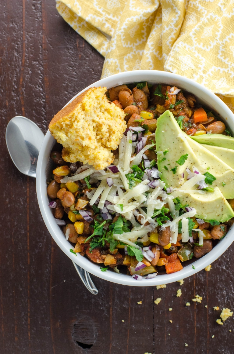 Smoky Vegetarian Chili Recipe with Pinto Beans and Corn | Umami Girl