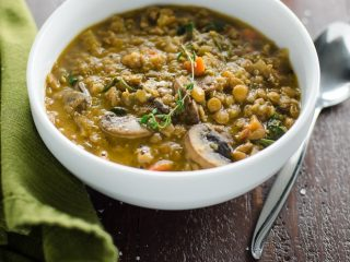 Mushroom Lentil Stew with Spinach