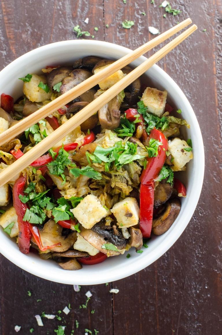 Napa Cabbage Stir fry with Salt and Pepper Tofu | Umami Girl