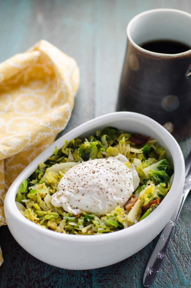 Brussels Sprouts Hash with Bacon and Poached Eggs | Umami Girl