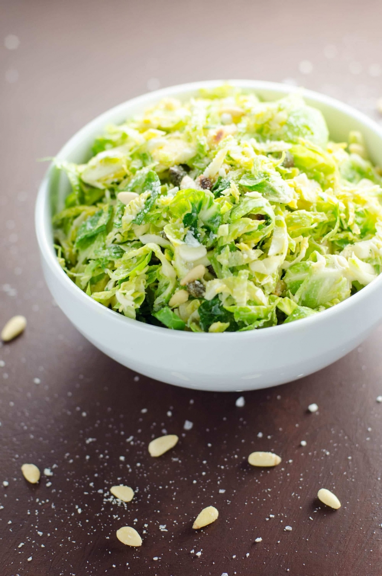 Shredded Brussels Sprouts Salad with Pecorino and Pine Nuts | Umami Girl