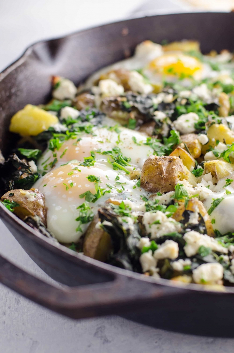 Baked Eggs Recipe with Potatoes and Kale in a Cast Iron Skillet | Umami Girl