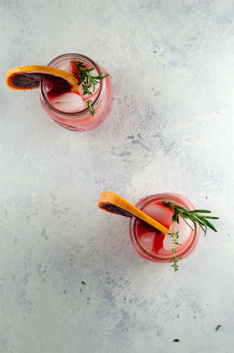 Blood Orange Grapefruit Cocktail with Winter Herbs | Umami Girl