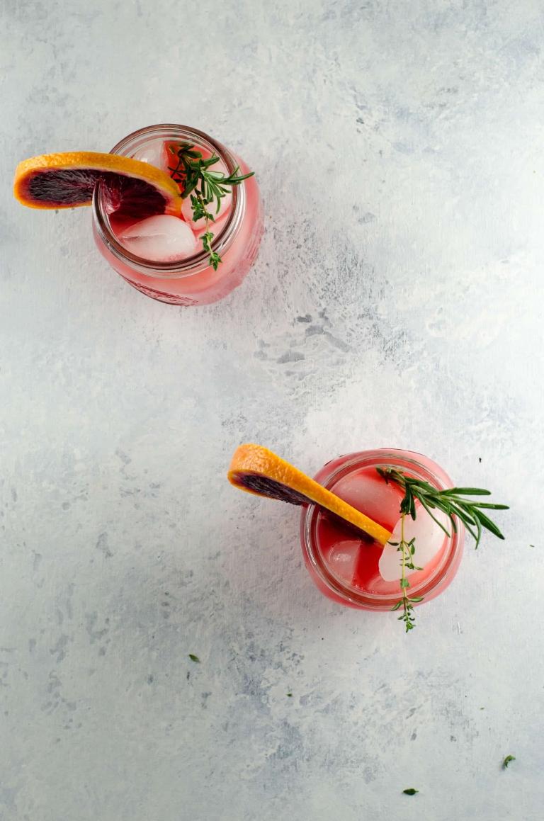 Blood Orange Grapefruit Cocktail with Winter Herbs | Umami Girl