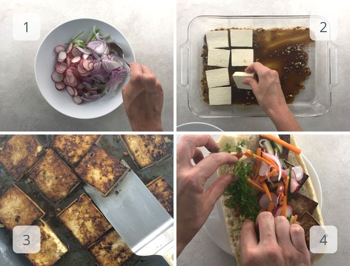pickling vegetables, marinating and cooking tofu, assembling a sandwich
