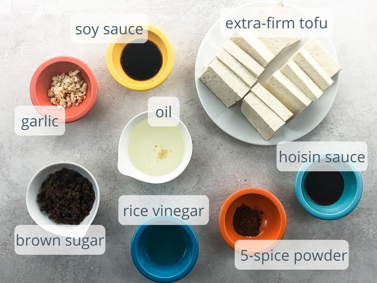 marinade ingredients and extra firm tofu