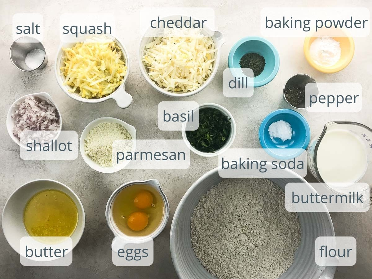 ingredients for savory quickbread