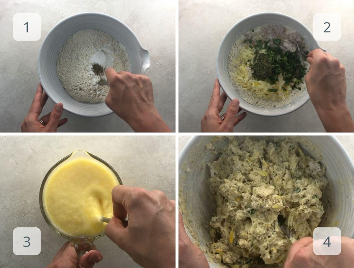 mixing quick bread ingredients step by step