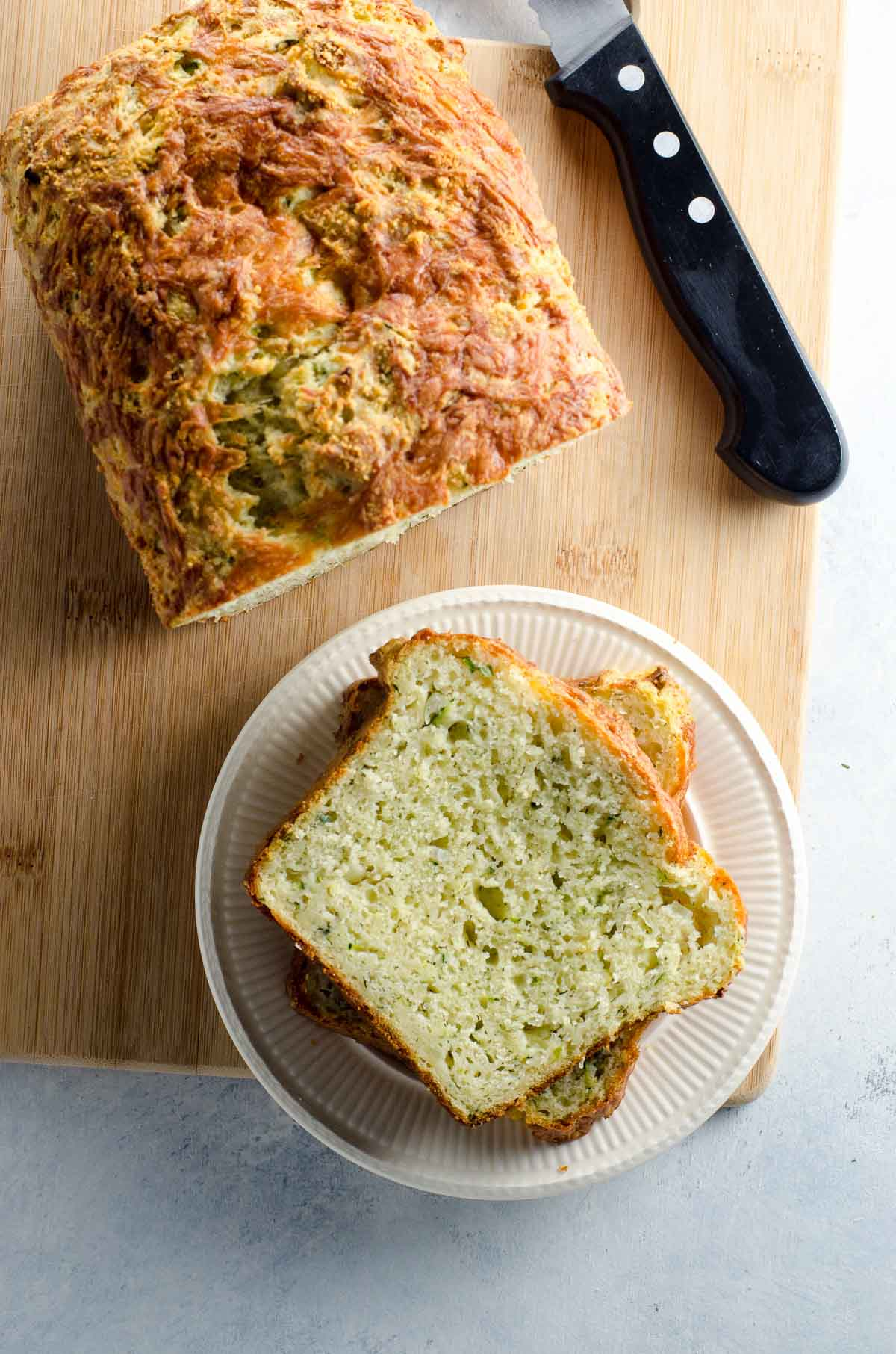 savory zucchini bread with slices