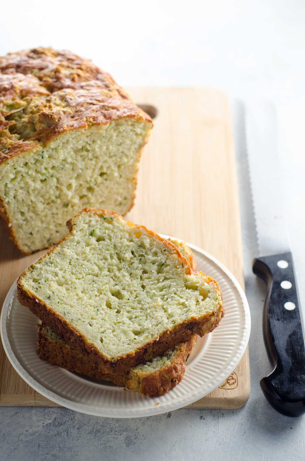 Zucchini Cheddar Bread with Slices