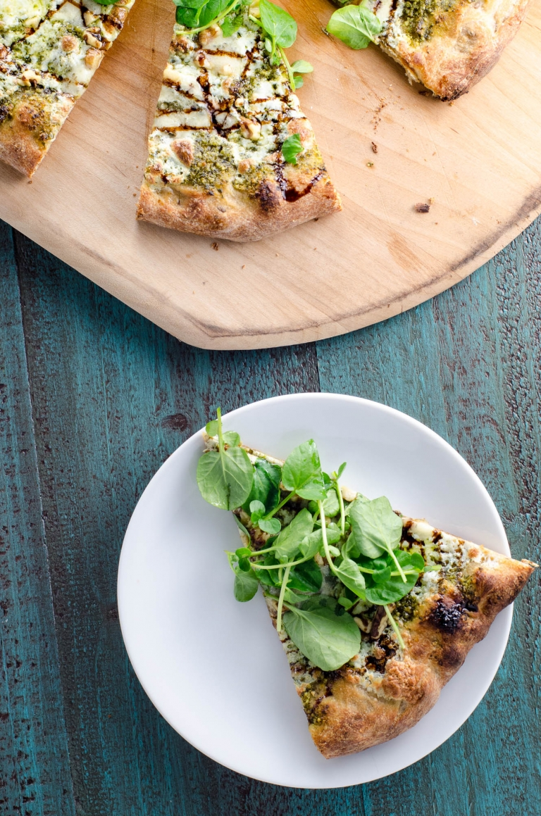 Watercress Pesto Pizza with Blue Cheese and Balsamic Glaze   Umami Girl