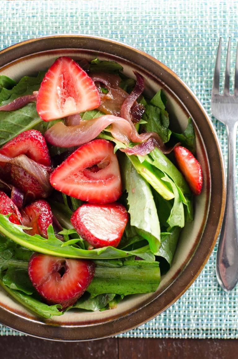 Dandelion Salad with Balsamic Strawberries and Onions | Umami Girl