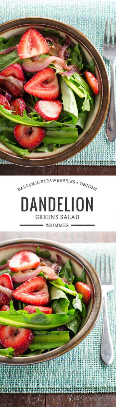 Dandelion Salad with Balsamic Strawberries and Onions | Umami Girl