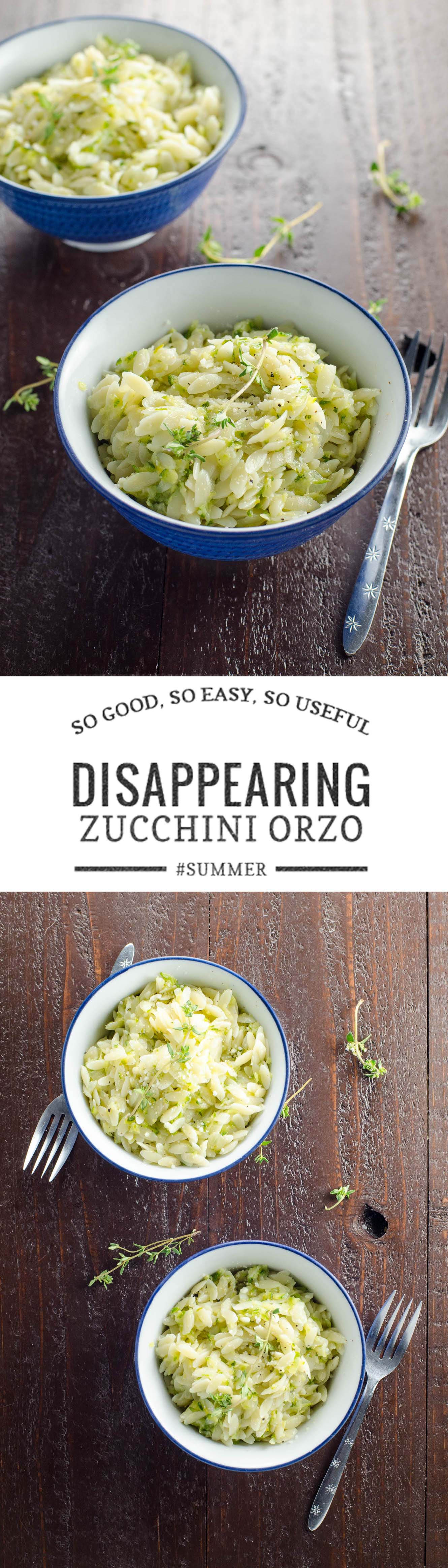 Camille Kingsolver's Disappearing Zucchini Orzo, adapted from Barbara Kingsolver's Animal, Vegetable Miracle, is a crowd-pleasing way to use up tons of zucchini in a flash.