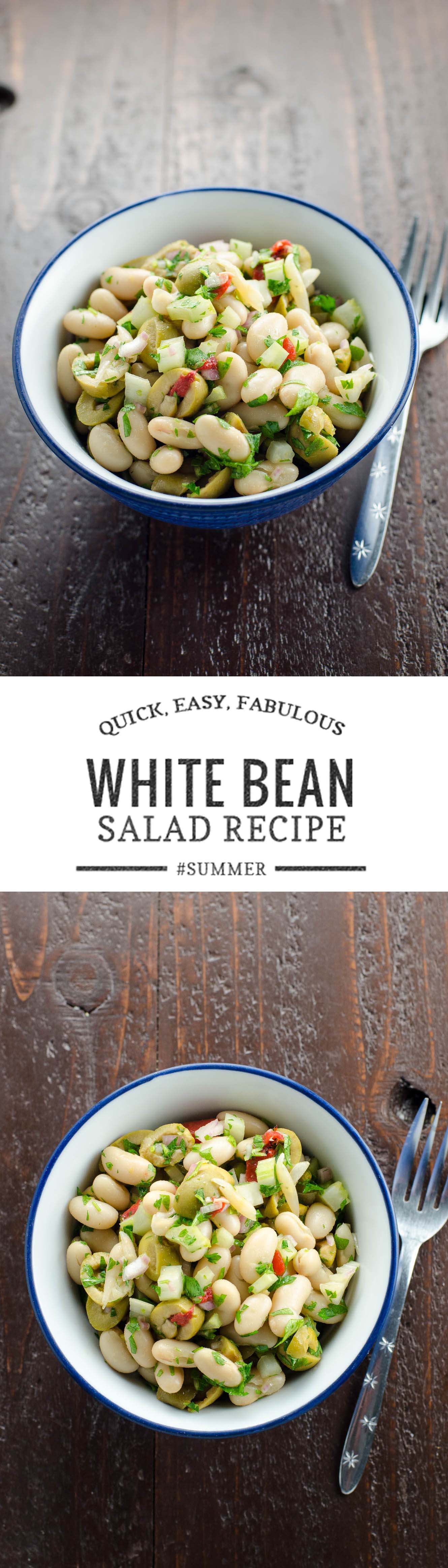 An easy, no-cook white bean salad that's ready to please crowds for lunches, parties and picnics in about 15 minutes.