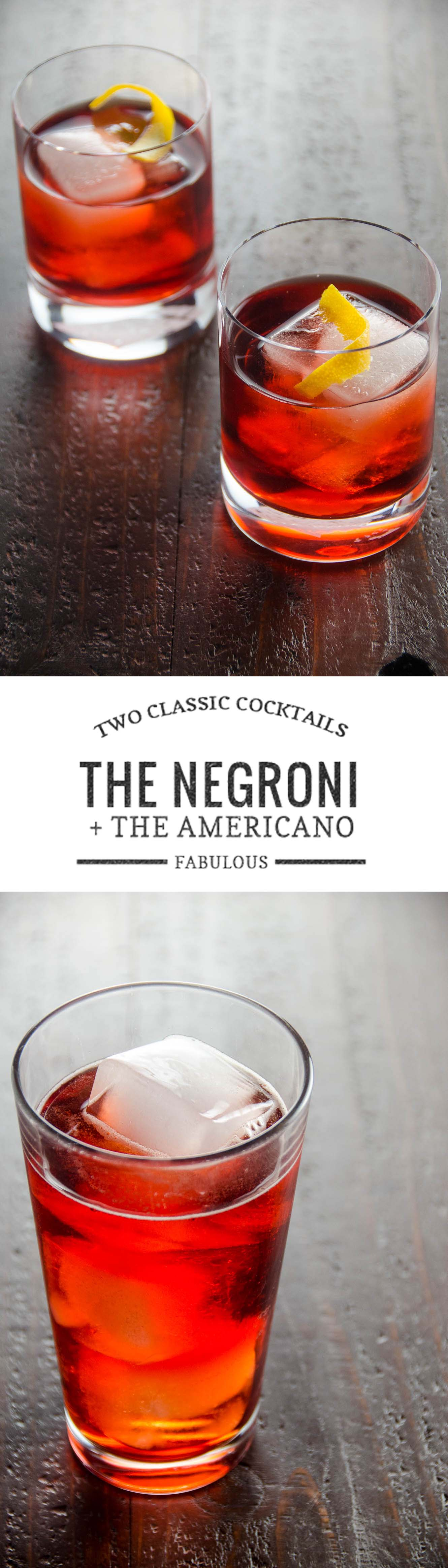 Two beautiful, classic cocktail recipes -- the stiff Negroni and the lighter, bubblier Americano.