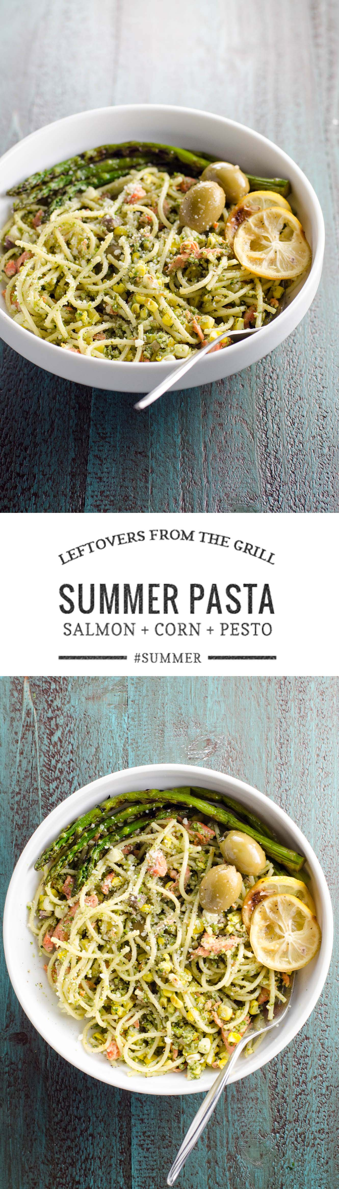 A great summer pasta recipe with grilled salmon, corn and pesto.