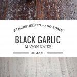 black garlic mayo in a mortar and on a sandwich
